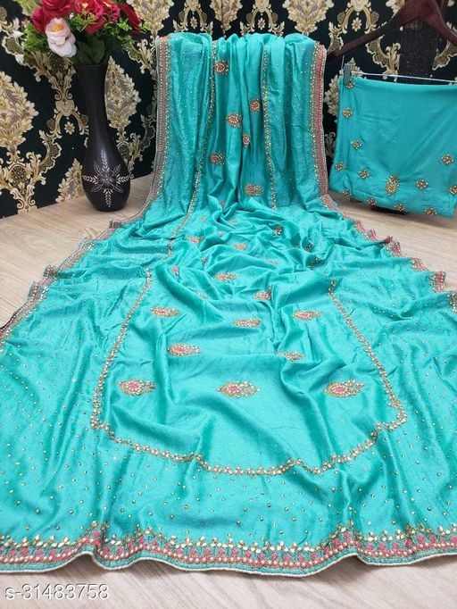 Heavy Vichitra silk With Embroidred and daimond saree