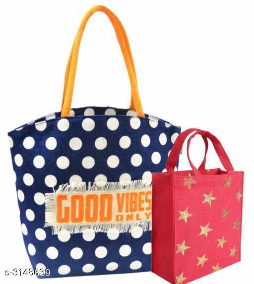 Attractive Women's Blue Jute Handbag