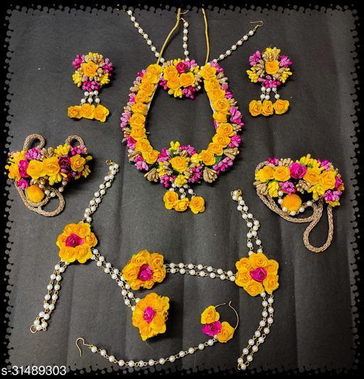 Fabric Flower Jewellery Double  Necklace Set with Maang Tikaa, Nath, Earrings, Bracelets , Bajuband for Women Girls Free size (Wedding/baby shower/party/haldi/mahendi)