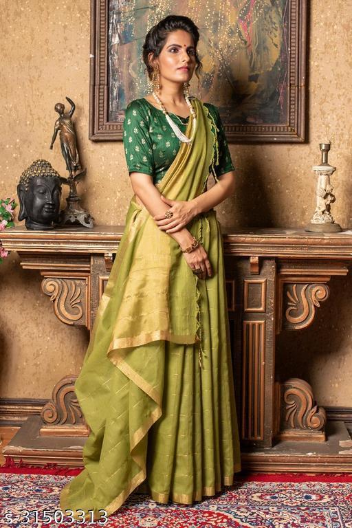 Myra Linen Saree with Brocade Blouse Piece