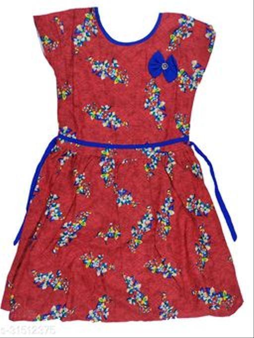 KIDS GIRLS COTTON FROCKS( MERON RED)