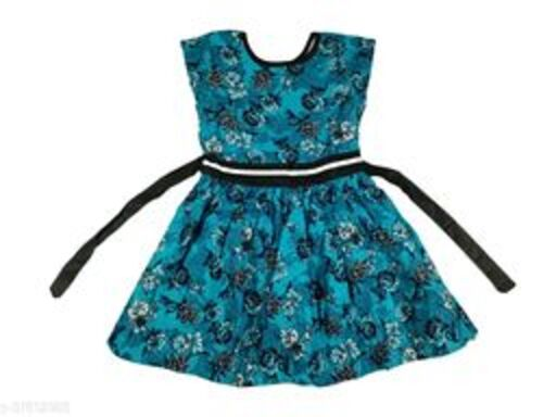 KIDS GIRLS COTTON FROCKS ( PEACOCK BLUE)
