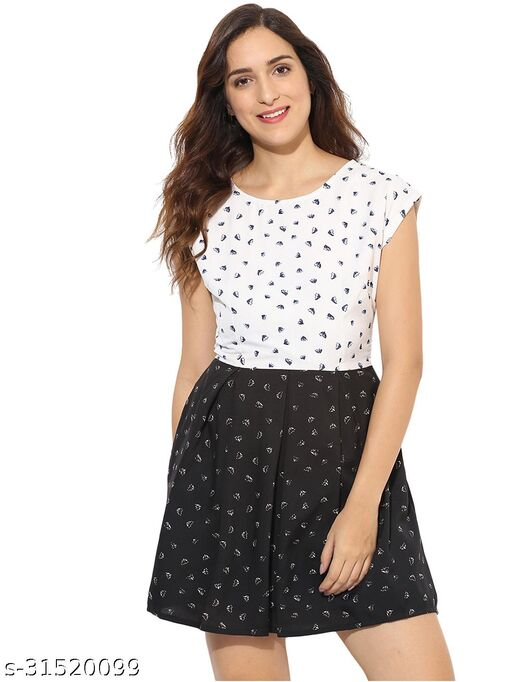 Women Semi-Fit White Printed Fit and Flare Dress