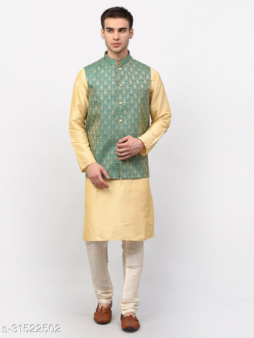 Jompers Men Golden Solid Kurta with Churidar & Nehru Jacket