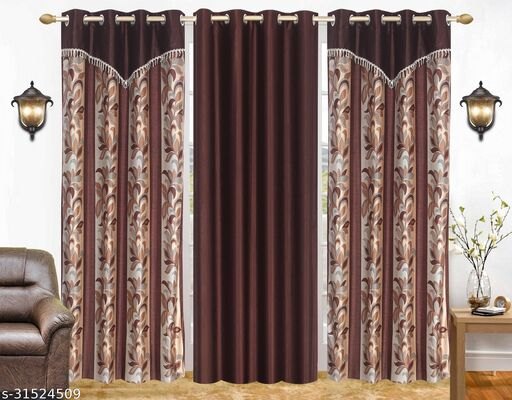 Brown Floral Designer Polyester Combo Long Door Curtains 9 Feet Pack of 3