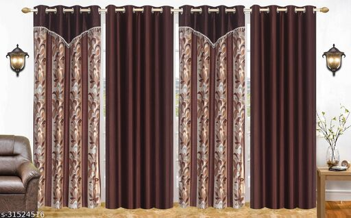 Brown Floral Designer Polyester Combo Long Door Curtains 9 Feet Pack of 4