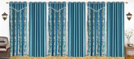 Aqua Floral Designer Polyester Combo Long Door Curtains 7 Feet Pack of 6
