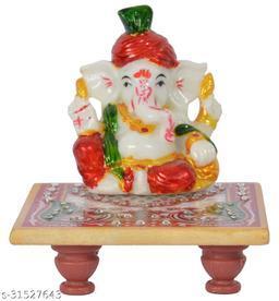 Craftoholics Pagdi Ganesh & White Marble Chowki with Meenakari Work Multicolour 4×4 inch