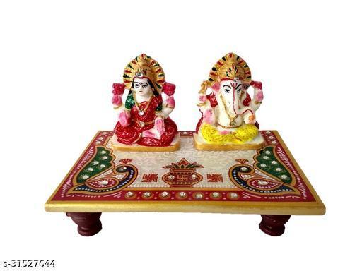 Craftoholics Laxmi Ganesh Marble Chowki with Meenakari Work 6x4 inches Multicolour