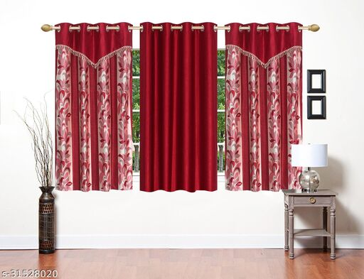 Maroon Floral Designer Polyester Combo Window Curtains 5 Feet Pack of 3