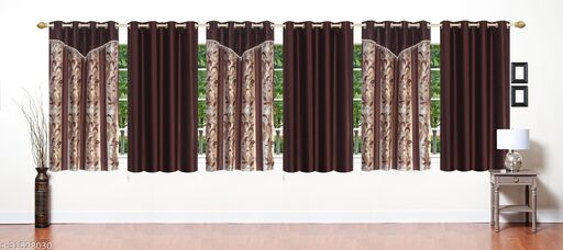 Brown Floral Designer Polyester Combo Window Curtains 5 Feet Pack of 6