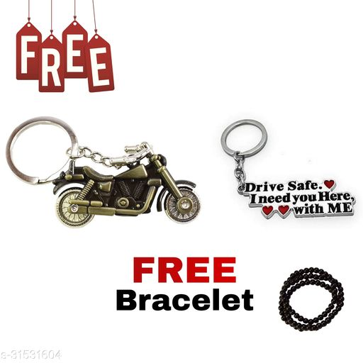 Bullet Bike (Green Colour) Drive Safe I Need You Here, With Me Key Chain ( COUPLE )  Free Hand Bracelet