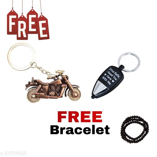 Bullet Bike (Copper Colour) Drive Safe I Need You Here, With Me Key Chain ( LED LIGHT )  Free Hand Bracelet