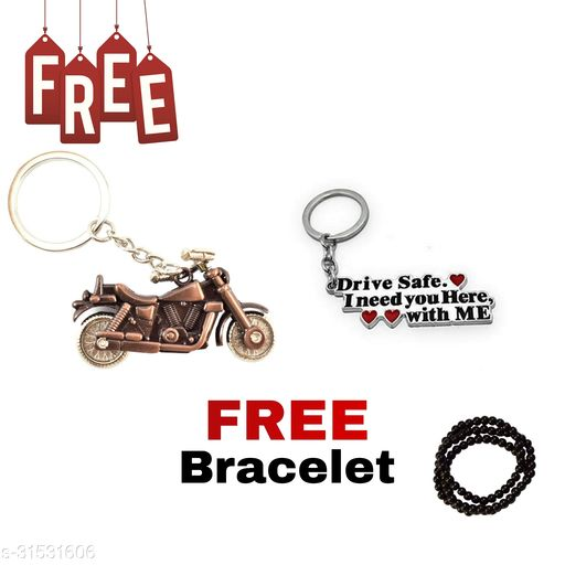 Bullet Bike (Copper Colour) Drive Safe I Need You Here, With Me Key Chain ( COUPLE )  Free Hand Bracelet