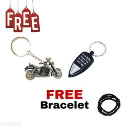 Bullet Bike (Silver) Drive Safe I Need You Here, With Me Key Chain ( LED LIGHT )  Free Hand Bracelet