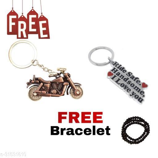 Bullet Bike (Copper Colour) Ride Safe Handsome I Love You Keyring Free Hand Bracelet