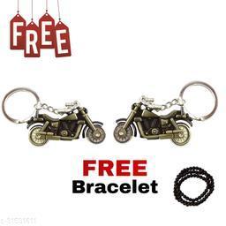Pack Of 2 Bullet Bike (Green Colour) Key Chain for Men & Boys For Best Gifting Key Chain Free Hand Bracelet