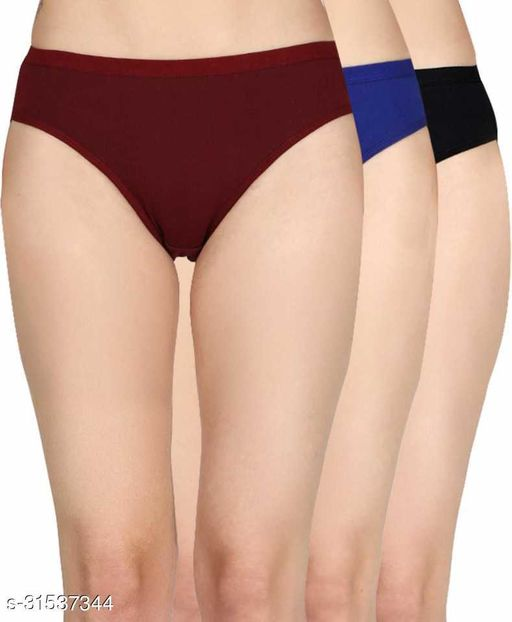 Women Hipster Maroon Cotton Blend Panty (Pack of 3)