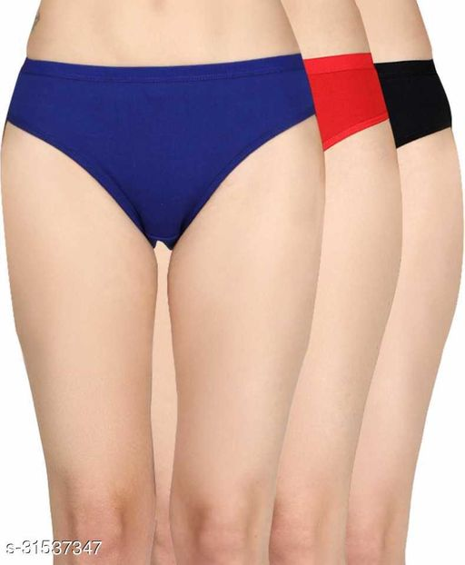 Women Hipster Blue Cotton Blend Panty (Pack of 3)