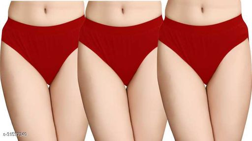 Women Hipster Red Cotton Blend Panty (Pack of 3)