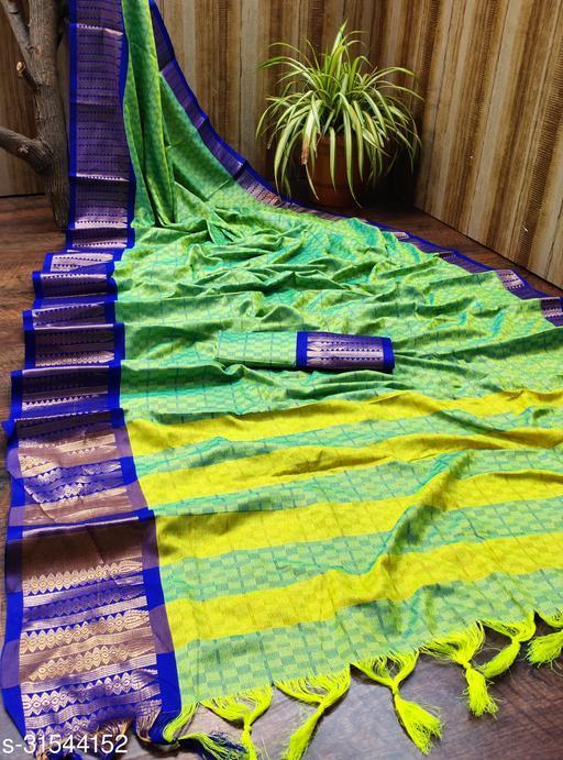 Swara Fashion Zigzag Cheks Cotton Silk Saree