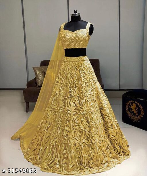 WOMEN'S BEST PARTY WEAR LEHENGA NET WITH EMBROIDERY DESIGN WORK