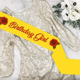 """Style Secrets 3.7"""" Shimmering Yellow Birthday Girl Sahs for all Baby Girls, Girls and Ladies"""