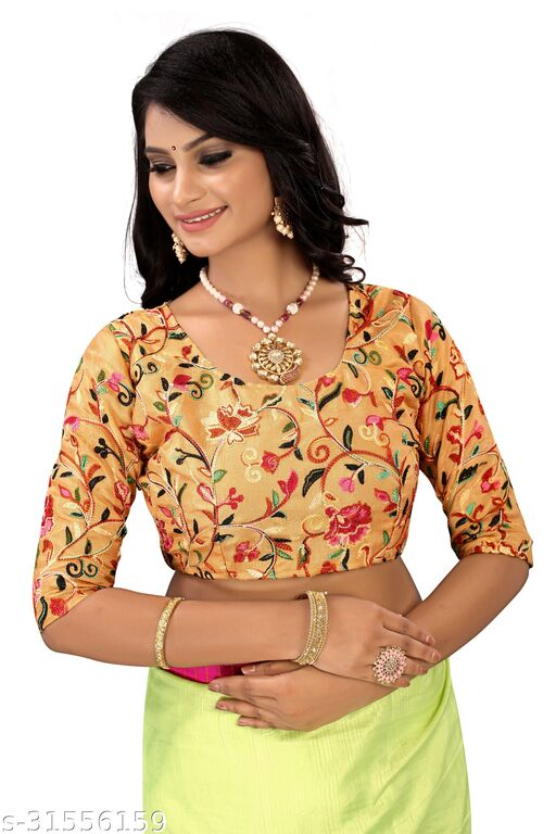 new design heavy work embroidery blouse material 1meter