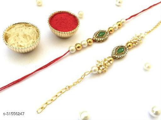 Combo (Set of 2) Bhaiya Bhabhi Couple rakhi Green Crystal Stone Diamond Moti and thread Rakhi with Roli Chawal Tilak( Green)