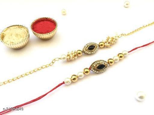 Combo (Set of 2) Bhaiya Bhabhi Couple rakhi Black Crystal Stone Diamond Moti and thread Rakhi with Roli Chawal Tilak (Black)