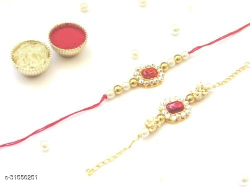 Kundan bhaiya bhabhi rakhi Combo (Set of 2) Couple rakhi with red Crystal Stone Moti and thread Rakhi with Roli Chawal Tilak (red)