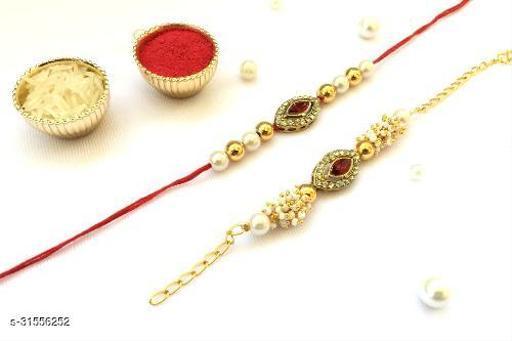 Combo (Set of 2) Bhaiya Bhabhi Couple rakhi Red (maroon) Crystal Stone Diamond Moti and thread Rakhi with Roli Chawal Tilak (Maroon)