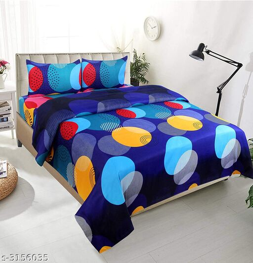 Beautiful Glace Cotton  Printed Double Bedsheet