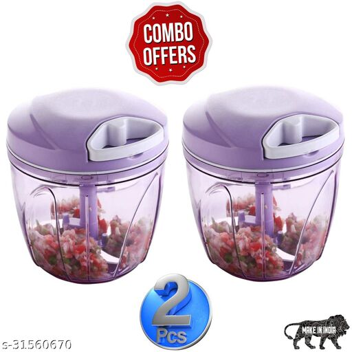 new combo of purple (900 ml +900 ml) vegetable and fruit chopper vegetable cutter chilly cutter tomato cutter with 5 stainless steel blade and 1 bitter