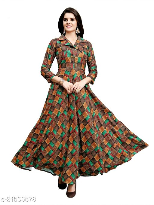 Women Fit and Flare Cotton Fabric Printed A-Line Maxi Midi Western Long Gown