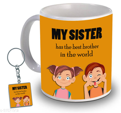 Birthday,Anniversary,Gift for Sister, Wife, Brother, Mother, Dad special Gifted Mug, 1 Printed Key Ring best gift for EVERYONE birthday New Trendy High Quality Multicolor Ceramic Gifted Mug (330 ml) MUG KC 964