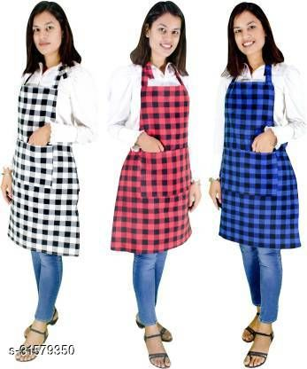 R2GPro Cotton Waterproof Checkered Kitchen Aprons with Front Pocket. Kitchen Apron with Women, Men, Chef, Styish Apron Pack of 3