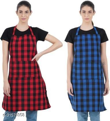 R2GPro Cotton Waterproof Checkered Kitchen Aprons with Front Pocket. Kitchen Apron with Women, Men, Chef, Styish Apron Pack of 2
