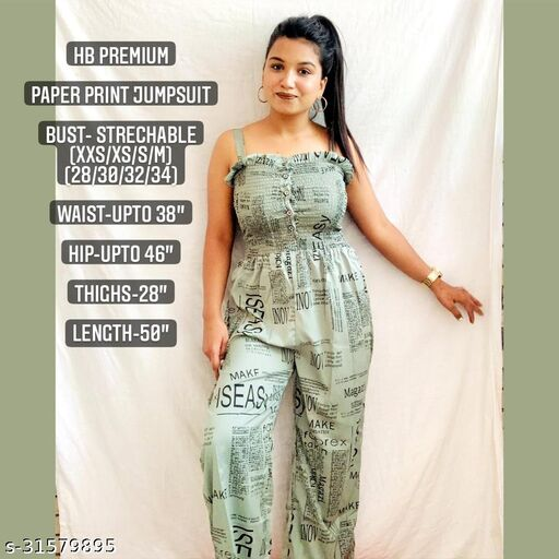 Paper Print shoulder strap jumpsuit by High-Buy- Free size (xxs to m)-Green