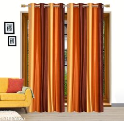 Ruhi Home Furnishing Polyester Solid Plain  Yellow Long Door Curtains 9 Feet ( Set of 2)