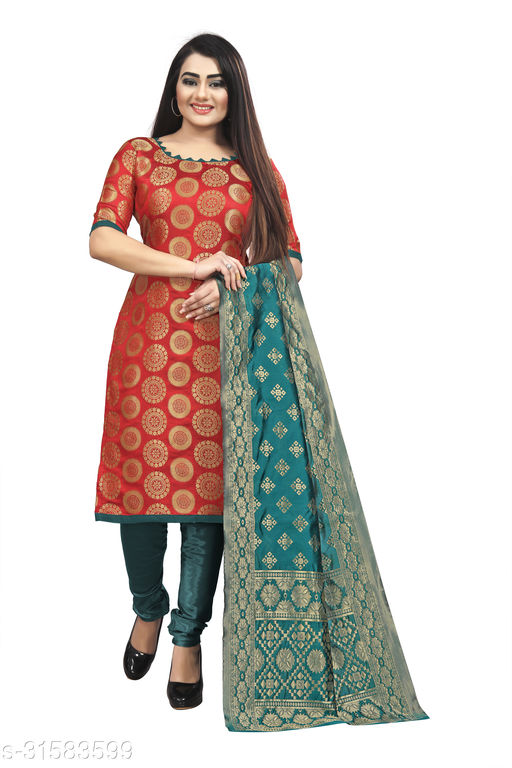 Designer Women's Jacquard Suit With Banarasi Dupatta