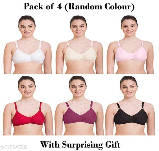 Women Hosiery Magnet Bra Pack Of 4 With Surprising Gift (Random Colour Will Be Send)
