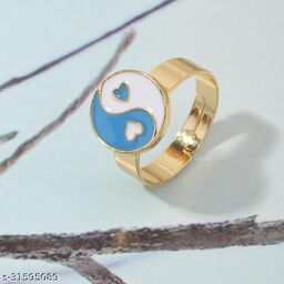 Arzonai YING YANG style jewelry ins trend alloy dripping oil index finger ring tail ring love gossip ring