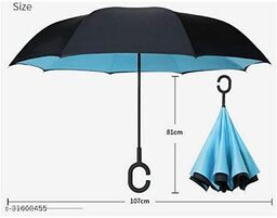 Reverse Inverted Windproof Upside Down Umbrellas with C-Shaped Handle for Women and Men - Double Layer Inside Out Folding Umbrella