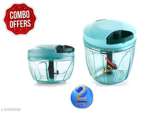 BRANZY new combo of green (900 ml + 450ml) vegetable and fruit chopper vegetable cutter chilly cutter tomato cutter with 5 stainless steel blade and 1 bitter