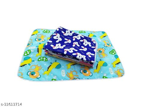 Momscape Waterproof Plastic Sheets Baby Diaper Changing Sheets, Urine Matress Protector Sheets, Sleeping mats, Baby Bed Protector, Soft Foam Cushioned Sheets (Pack of 4)