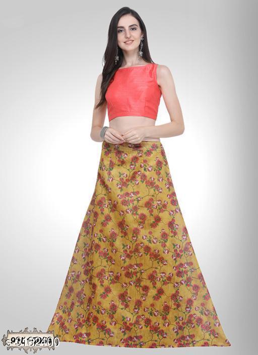 Lehengas Fabulous Bhagalpuri Silk Women's Lehenga  *Fabric* Lehenga - Bhagalpuri Silk, Blouse - Bhagalpuri Silk, Inner - Crepe  *Size* Lehenga - 2 Mtr, Blouse - 0.70 Mtr, Inner - 38 in  *Length* Lehenga - Up To 42 in  *Type* Lehenga - Stitched, Blouse - Un-Stitched  *Description* It Has 1 Piece Of Women's Lehenga, 1 Piece Of Blouse & 1 Piece Of Inner  *Colour* Lehenga - Yellow, Blouse - Peach, Inner - Yellow  *Work* Lehenga - Digital Floral Print, Inner - Solid  *Sizes Available* Semi Stitched *   Catalog Rating: ★4.1 (10)  Catalog Name: Divine Fabulous Bhagalpuri Silk Women's Lehengas Vol 5 CatalogID_434198 C74-SC1005 Code: 323-3162400-