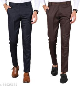 Men's Slim Fit Formal Trousers - Navy Blue, Brown Combo (Pack Of 2)