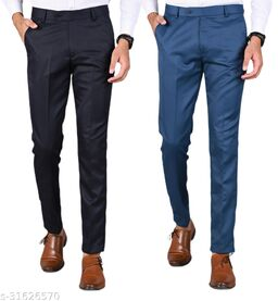 Men's Slim Fit Formal Trousers - Navy Blue, Blue Combo (Pack Of 2)