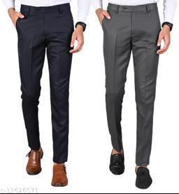 Men's Slim Fit Formal Trousers - Navy Blue, Dark Grey Combo (Pack Of 2)